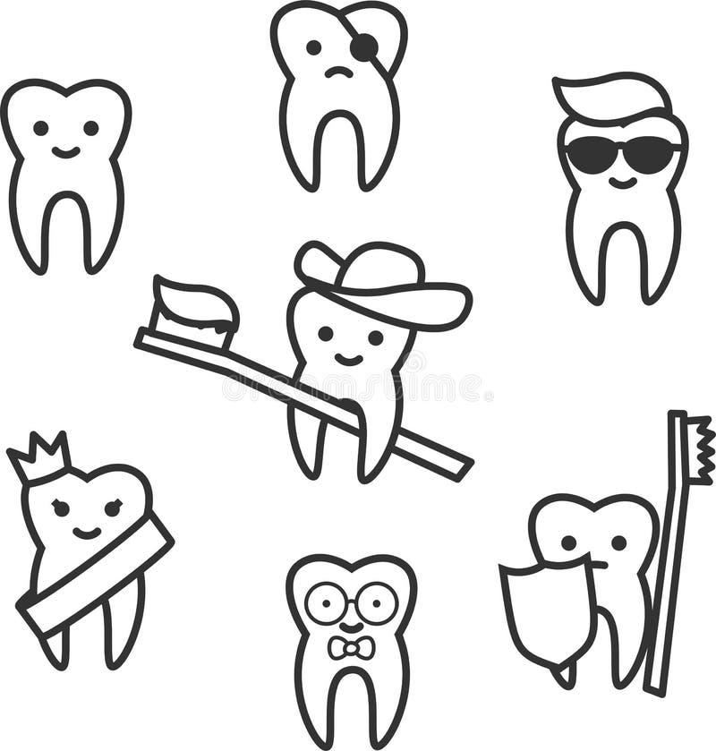 Cartoon line tooth royalty free illustration