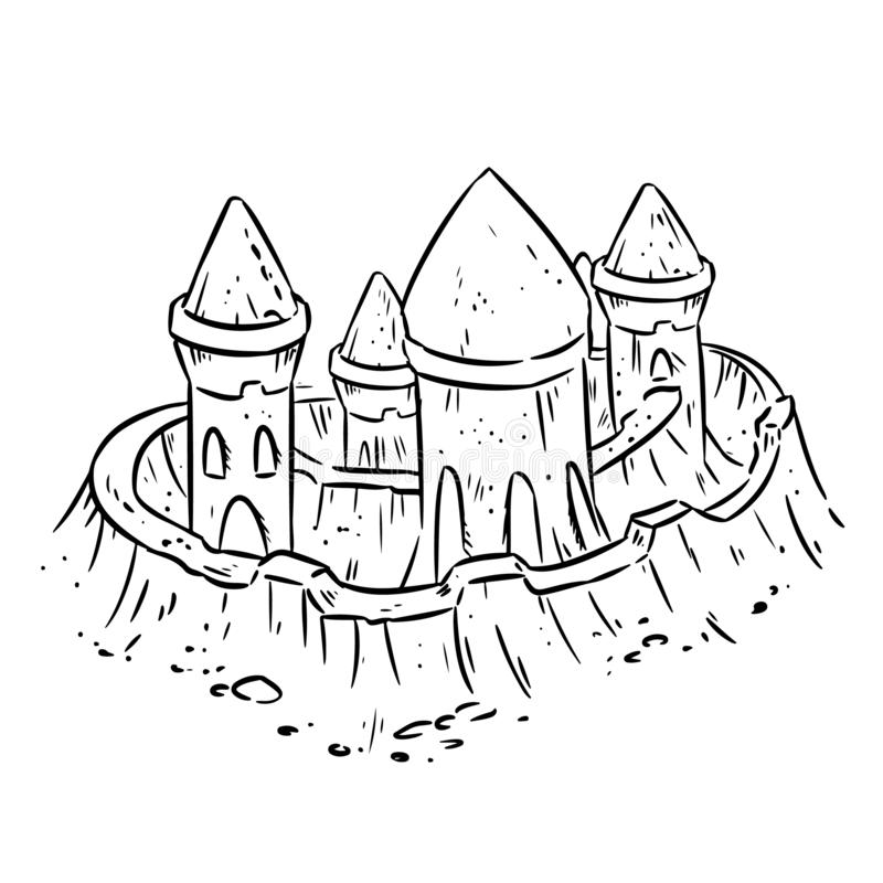 Cartoon lineart hand drawn sand castle, fort or fortress with towers. Cute isolated sketch vector illustration