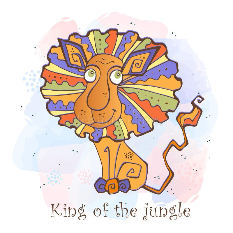 Cartoon lion in a cute style. King of the jungle royalty free illustration