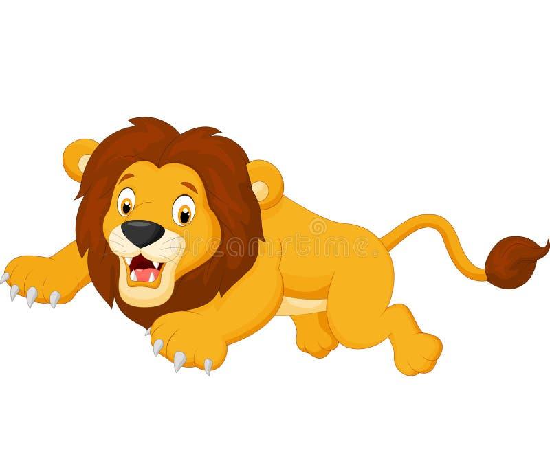 Cartoon lion jumping vector illustration