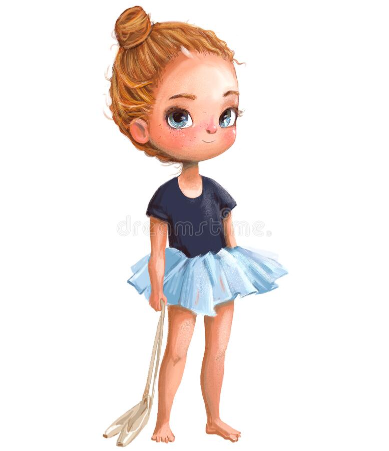 Cartoon little ballerina with curly red hairs. Cartoon cute little ballerina with curly red hairs vector illustration