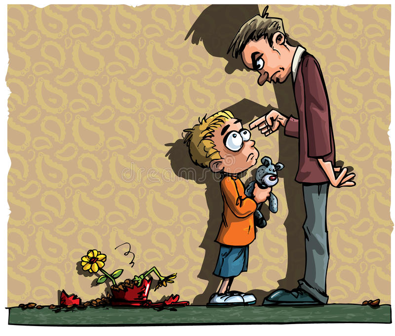 Cartoon of little boy being scolded by his dad royalty free illustration