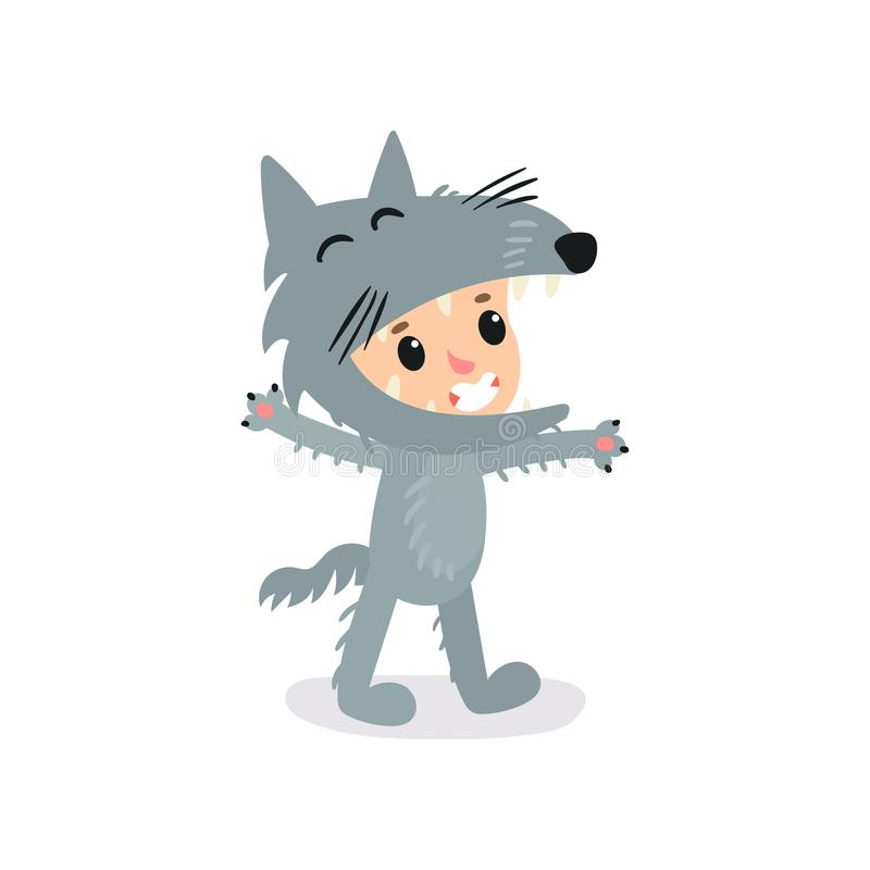 Cartoon little boy or girl in gray wolf costume. Halloween jumpsuit for children s party. Isolated flat vector design stock illustration