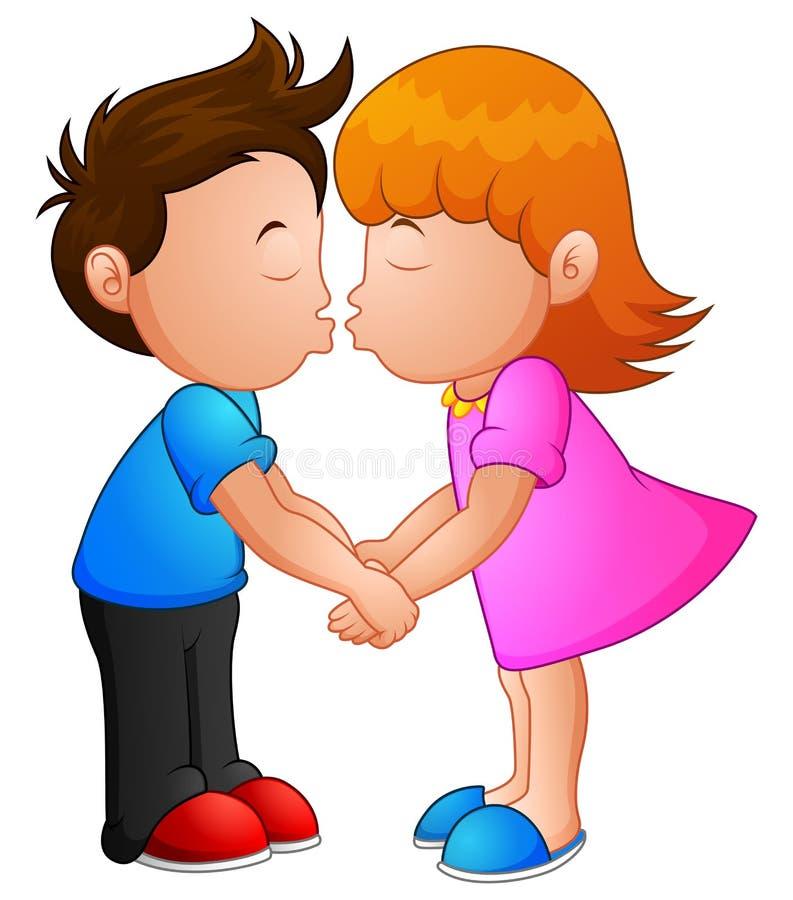 Cartoon little boy and girl kissing stock illustration