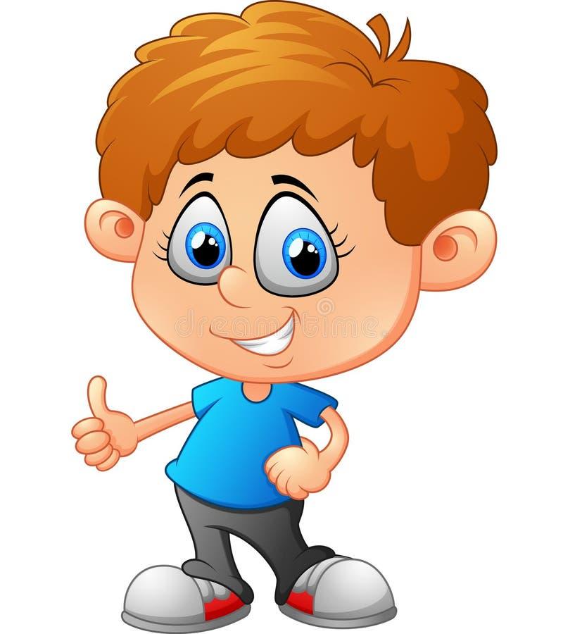 Cartoon little boy giving thumb up vector illustration