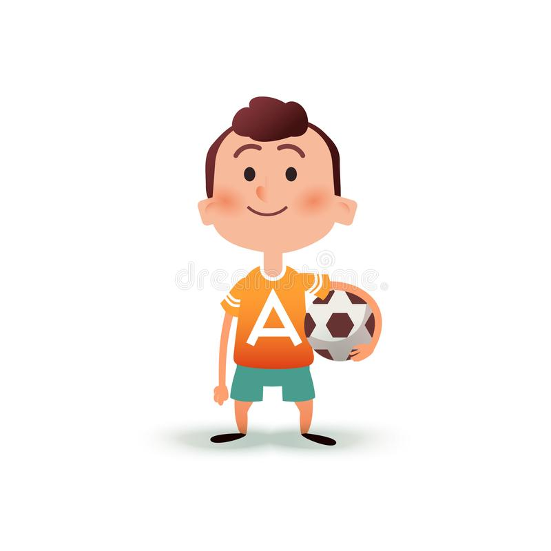 Cartoon little boy holds the ball in his hand. A young man is going to play football. Kid with a soccer ball in flat vector illustration