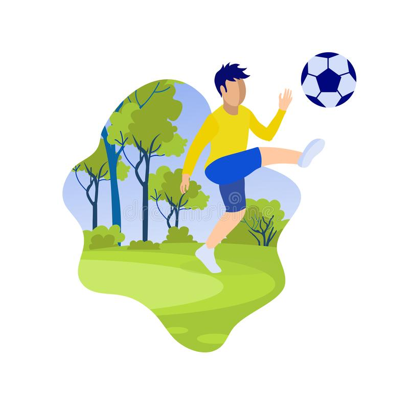 Cartoon Little Boy Kicking Ball on Green Field royalty free illustration