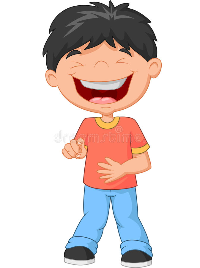 Free Cartoon Little Boy Laughing And Pointing Royalty Free Stock Images - 53372159