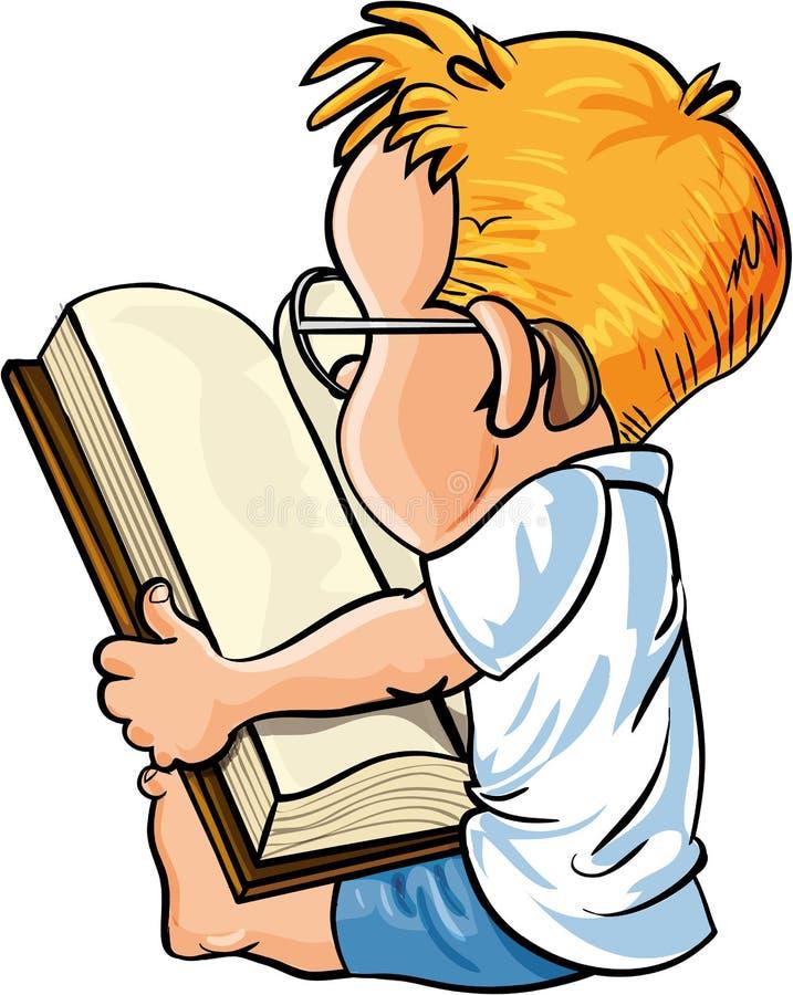 Cartoon little boy reading a big book stock illustration