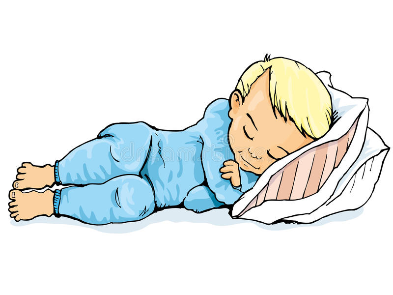 Download Cartoon Of Little Boy Sleeping On A Pillow Stock Vector - Image: 19177836
