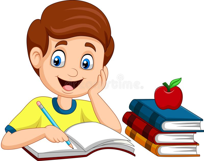 Cartoon little boy studying royalty free illustration