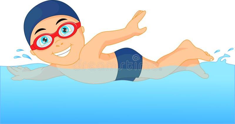 Cartoon little boy swimmer in the swimming pool vector illustration