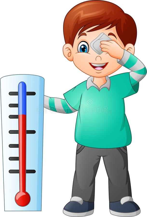 Cartoon little boy with a thermometer royalty free illustration