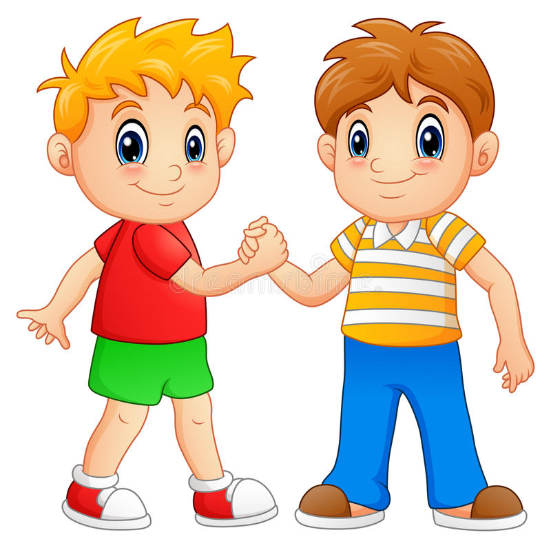 Cartoon little boys shaking hands vector illustration