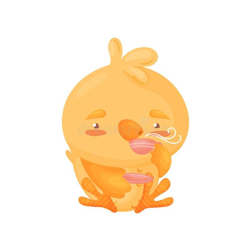 Cartoon little chicken drinks tea. Vector illustration on white background. stock illustration