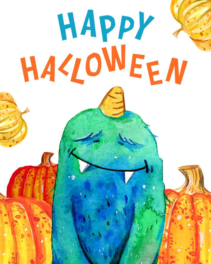 Cartoon little furry monster and pumpkins with title `Happy Halloween`. Hand drawn watercolor illustration royalty free illustration