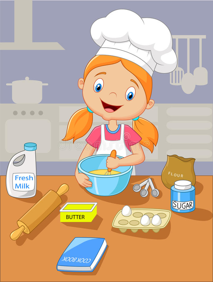 Cartoon little girl baking vector illustration