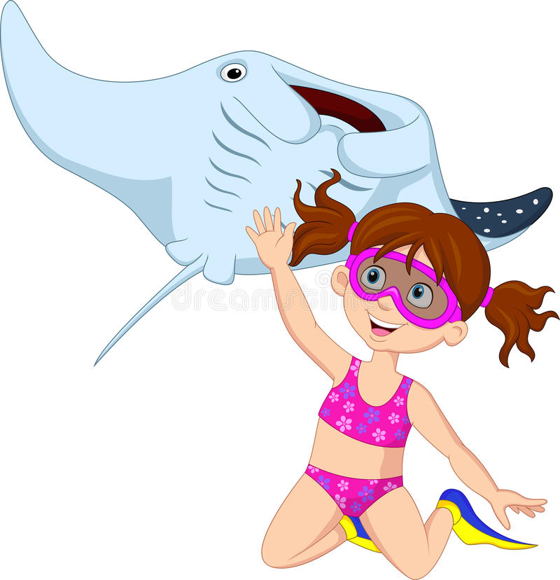 Cartoon little girl diving with stingray. Illustration of Cartoon little girl diving with stingray royalty free illustration