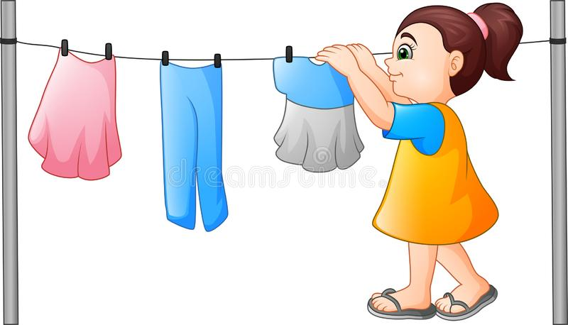 Cartoon little girl hanging clothes royalty free illustration