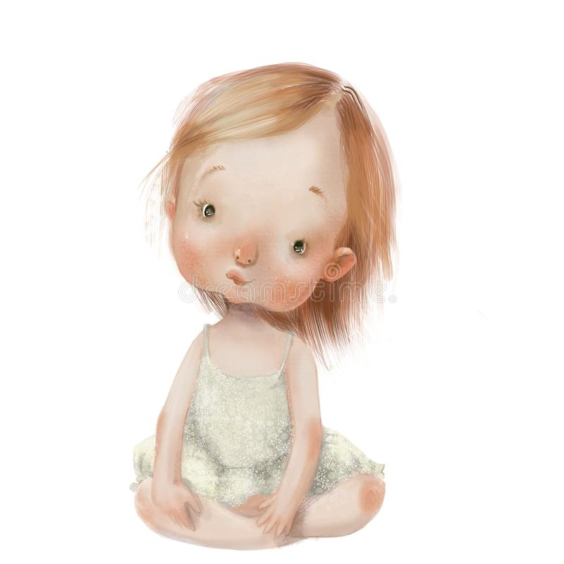 Free Cartoon Little Girl In Blue Dress Royalty Free Stock Image - 152452196