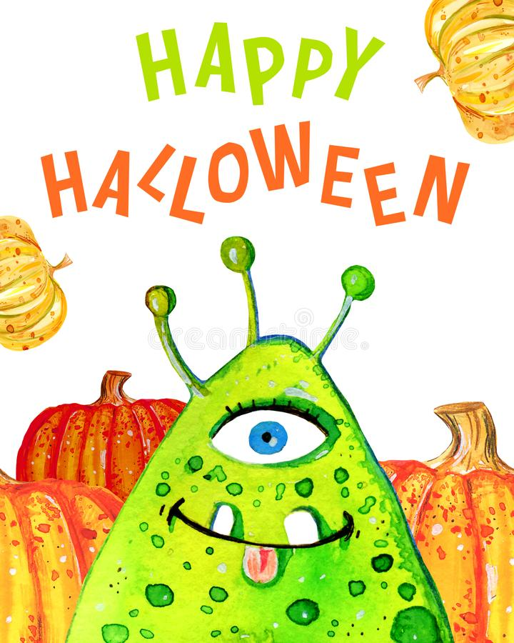 Cartoon little green monster and pumpkins with title `Happy Halloween`. Hand drawn watercolor illustration stock illustration