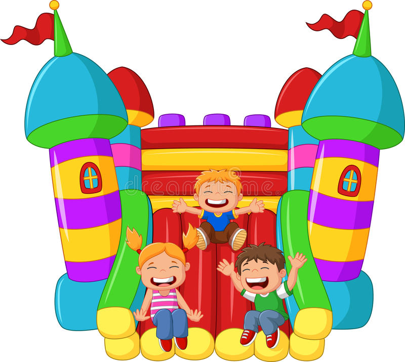 Cartoon little kid playing slide on the inflatable balloon stock illustration