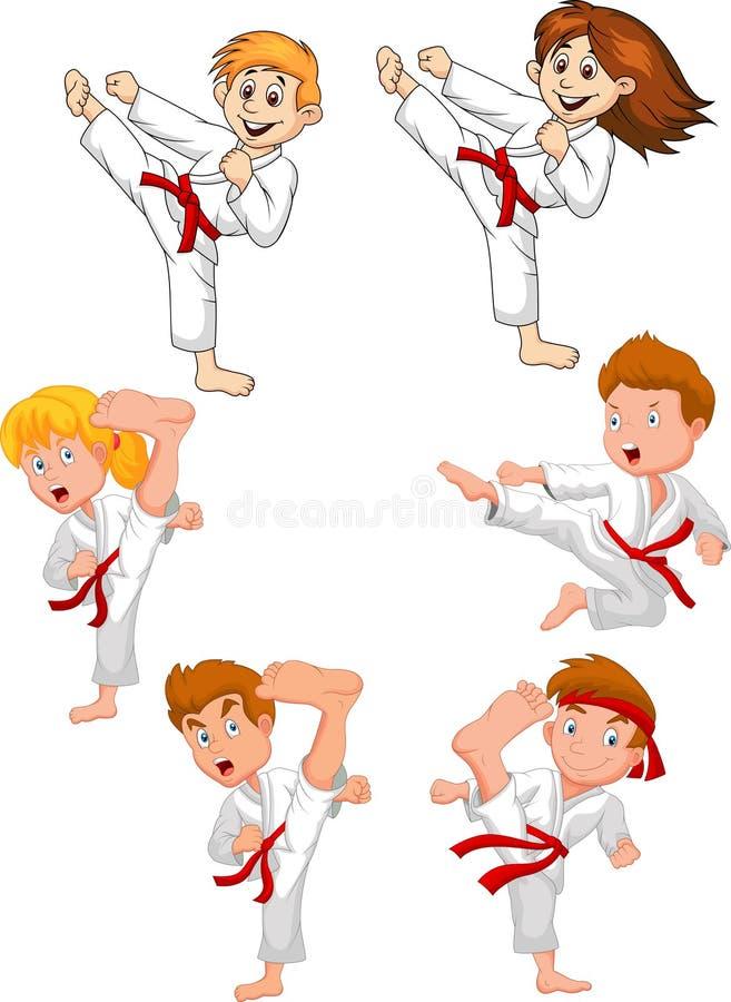 Cartoon little kid training karate collection vector illustration