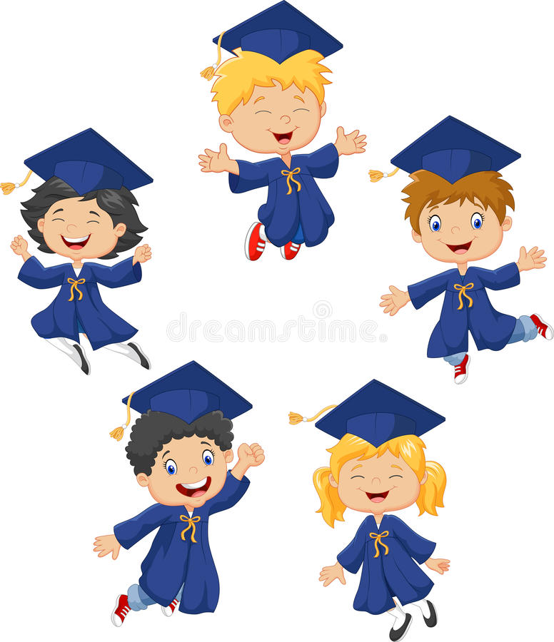 Cartoon little kids celebrate their graduation on white background vector illustration