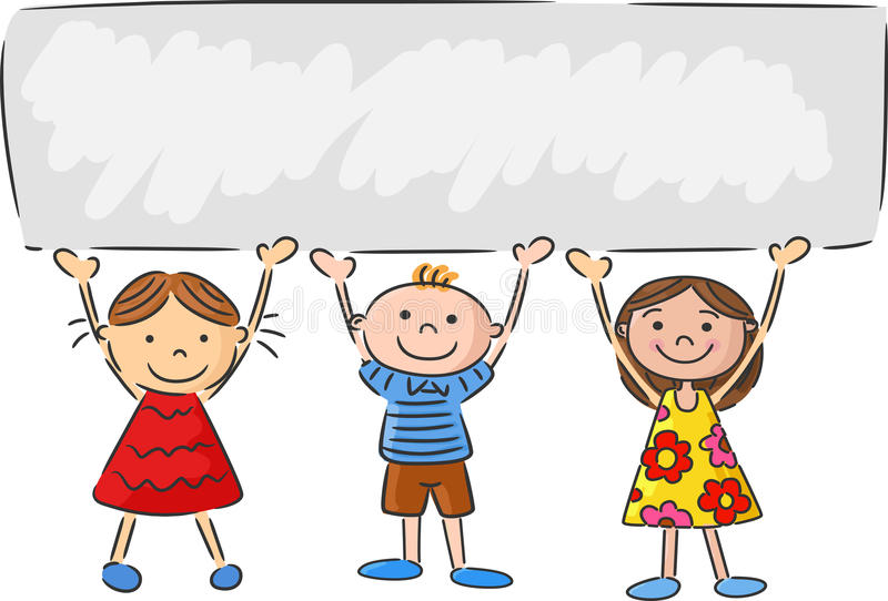 Cartoon Little Kids Holding Banner Stock Vector