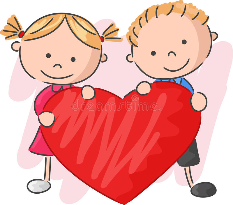 Cartoon little kids holding love stock illustration