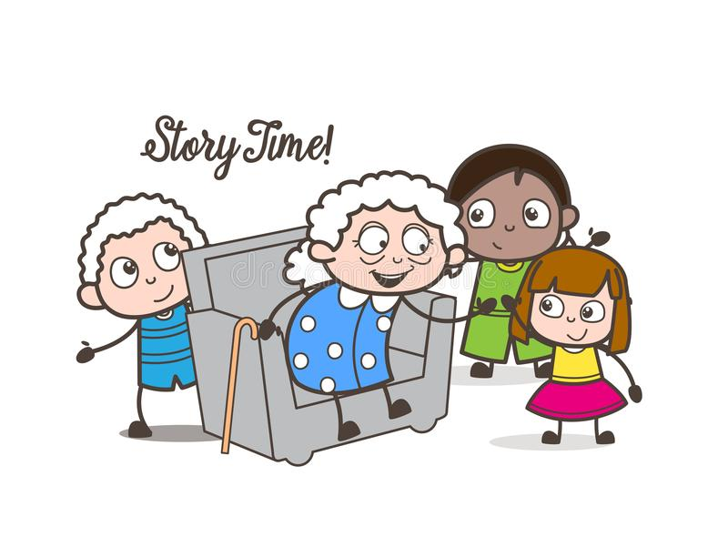 Cartoon Little Kids Playing With Old Woman In Old Age Home Vector ...