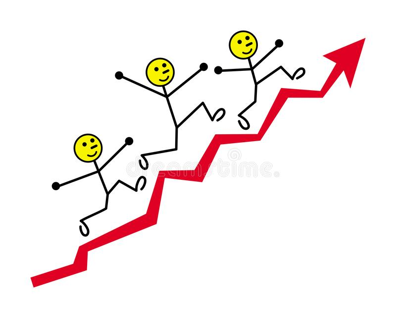Cartoon little men are running up the growth arrow schedule. Vector graphics. vector illustration