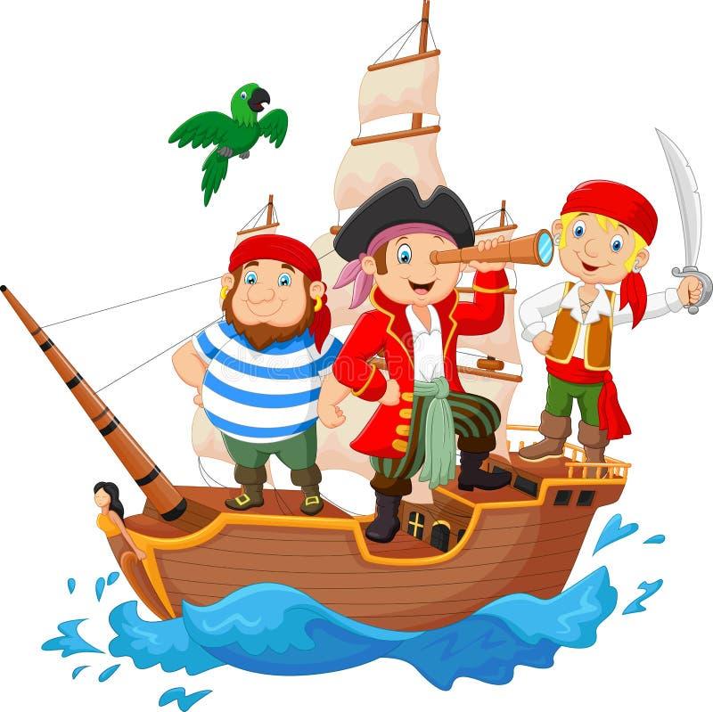 Cartoon Little Pirate Was Surfing The Ocean Stock Vector ...
