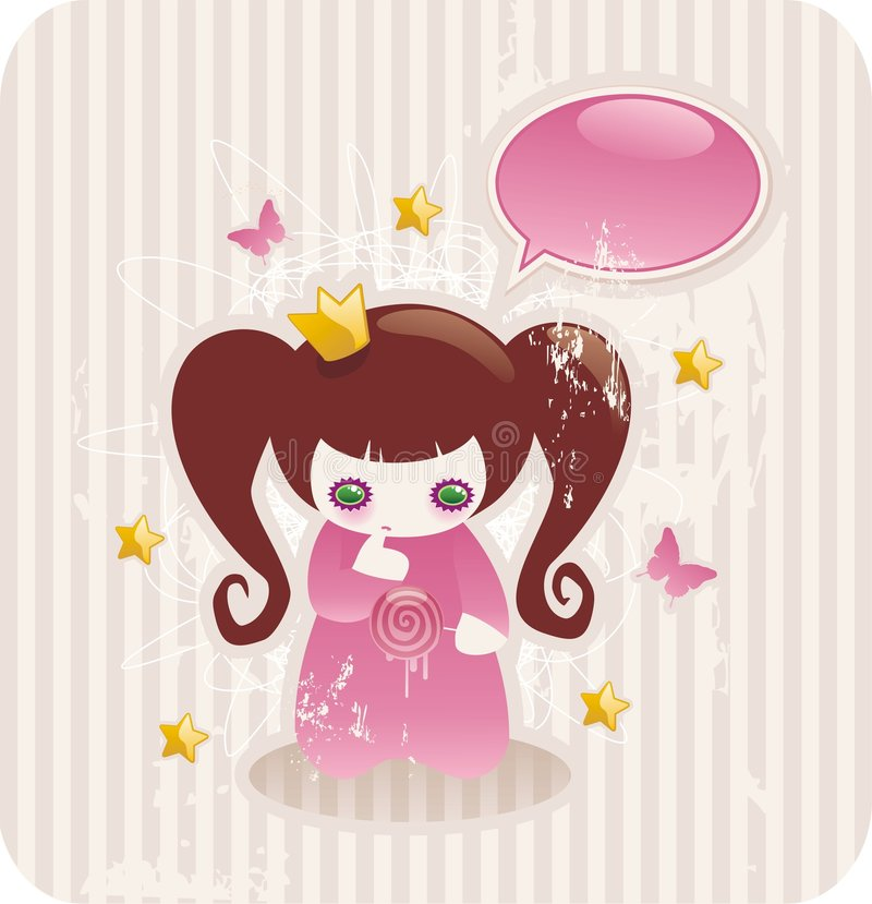 Cartoon little princess. With lollipop, glossy butterflies and stars royalty free illustration