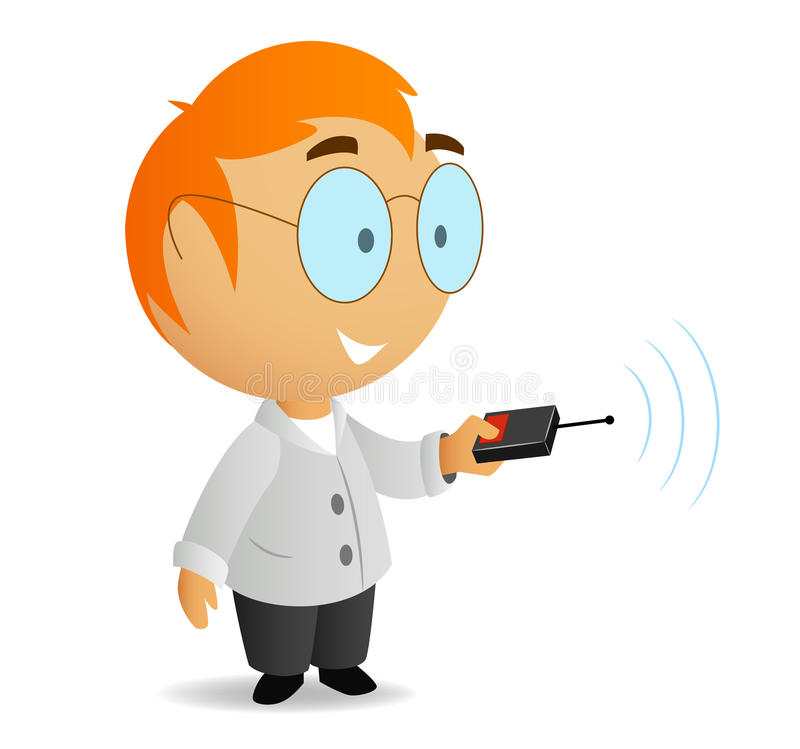Cartoon Little Scientist With Remote Contro Stock Photo