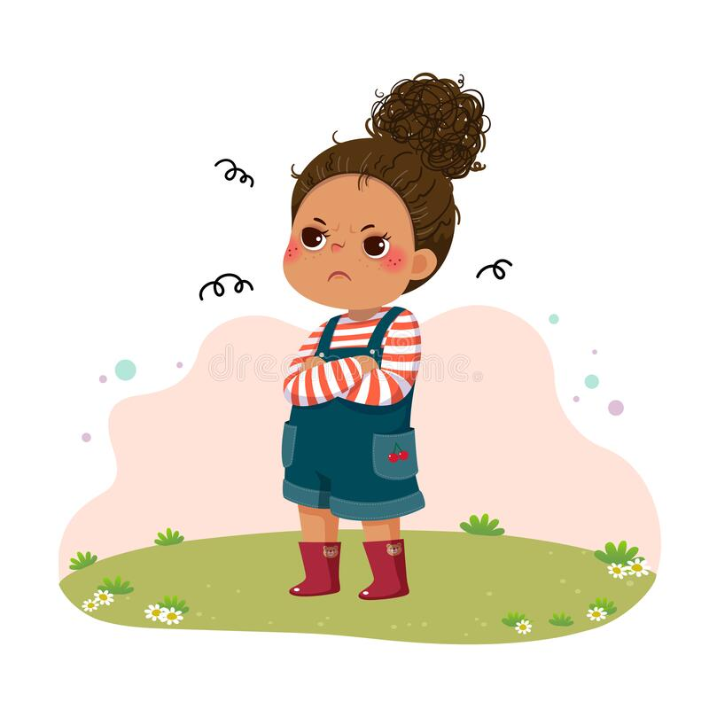 Free Cartoon Little Sulky Girl Standing With Arms Crossed On Chest Royalty Free Stock Image - 193304956