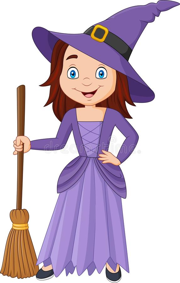 Cartoon little witch holding broomstick royalty free illustration