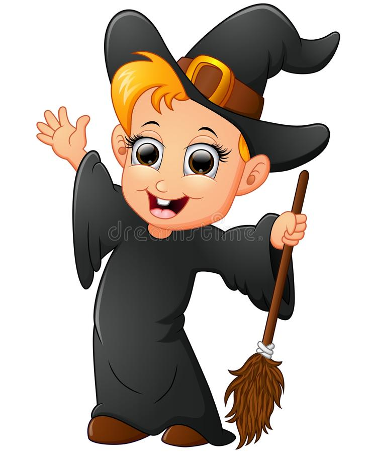 Cartoon little witch waving royalty free illustration