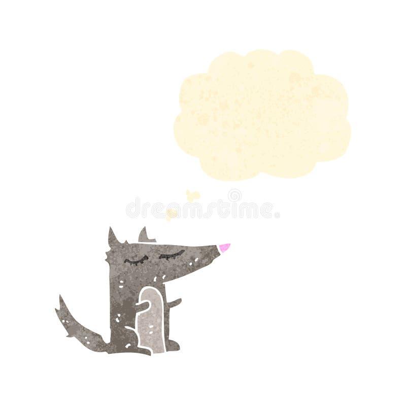 Cartoon little wolf. Retro cartoon with texture. Isolated on White royalty free illustration