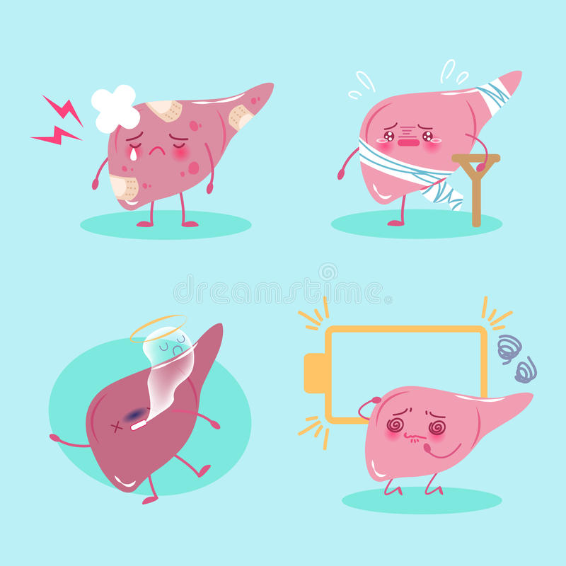 Cartoon liver feel pain royalty free illustration