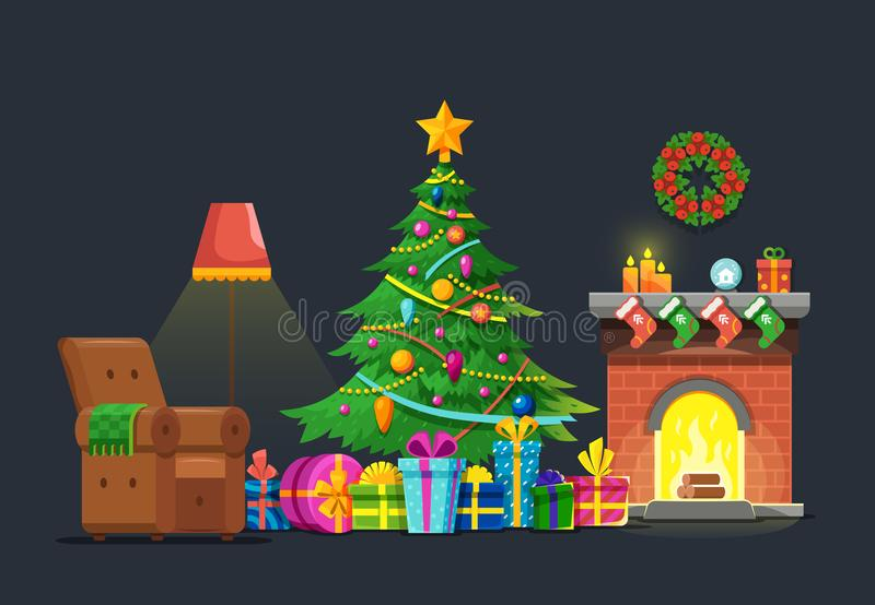 Cartoon living room with xmas tree and fireplace. Christmas holiday vector flat concept stock illustration