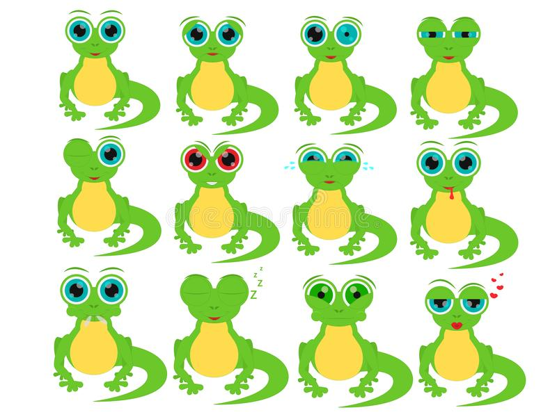 Cartoon lizard in different social emotions. stock photos