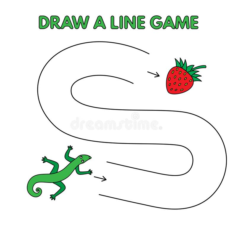 Cartoon Lizard Draw a Line Game for Kids. Cartoon lizard game for small children - draw a line. Vector design for kids education stock illustration
