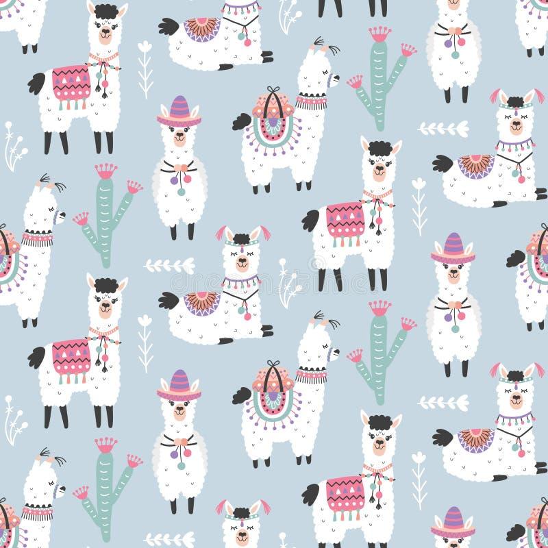 Free Cartoon Llama Alpaca Seamless Pattern Royalty Free Stock Photography - 112557407