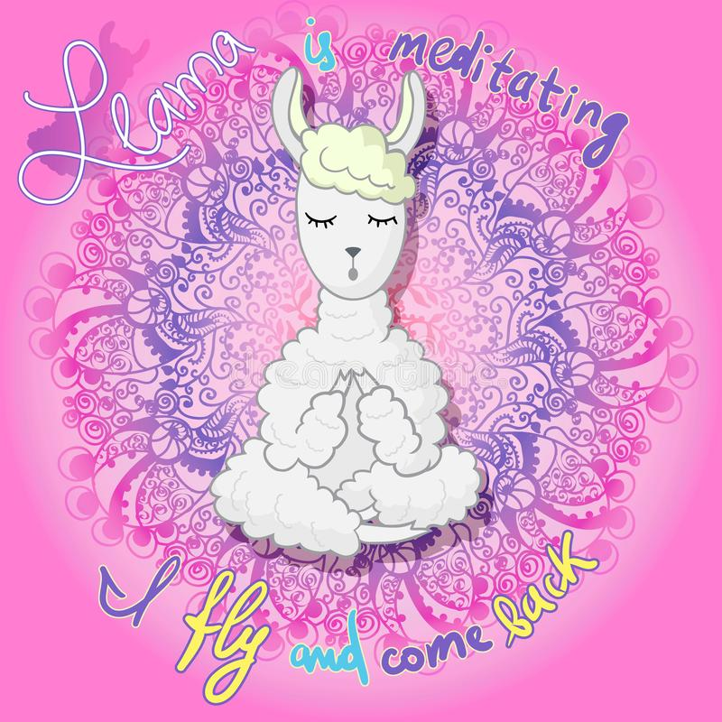 Llama is meditating royalty free illustration