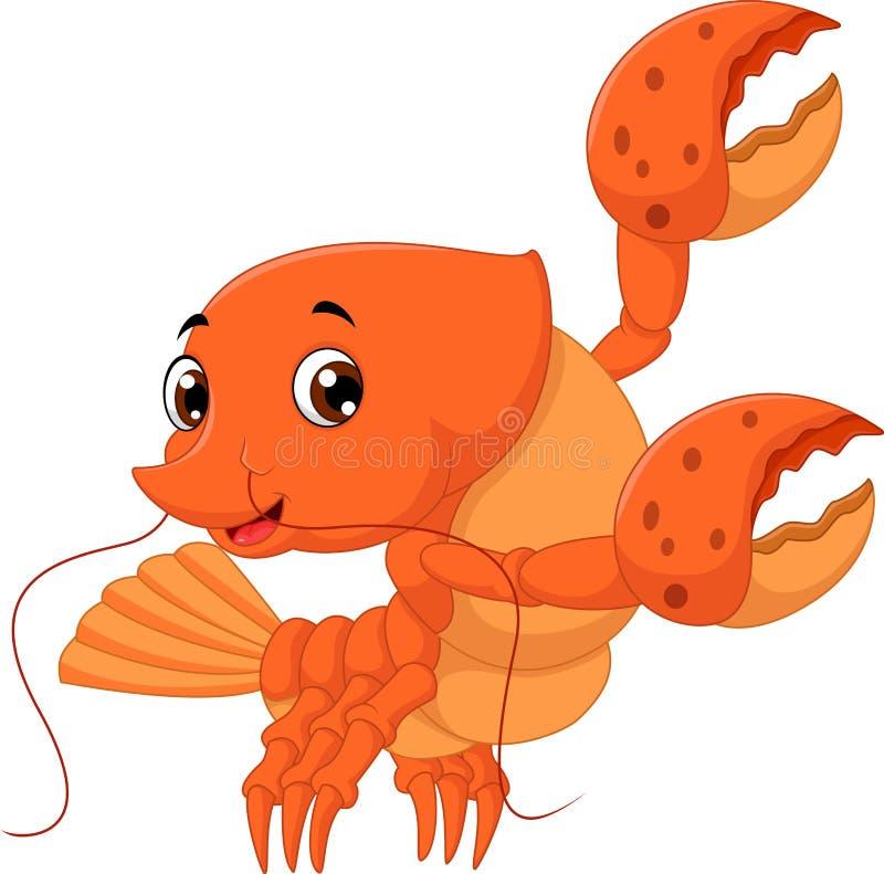Cartoon lobster waving stock illustration
