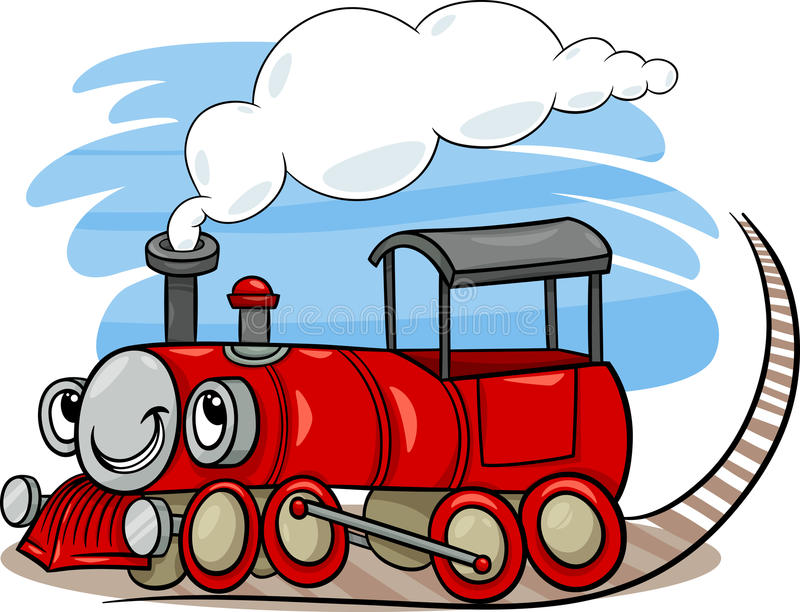 Cartoon locomotive or engine character vector illustration