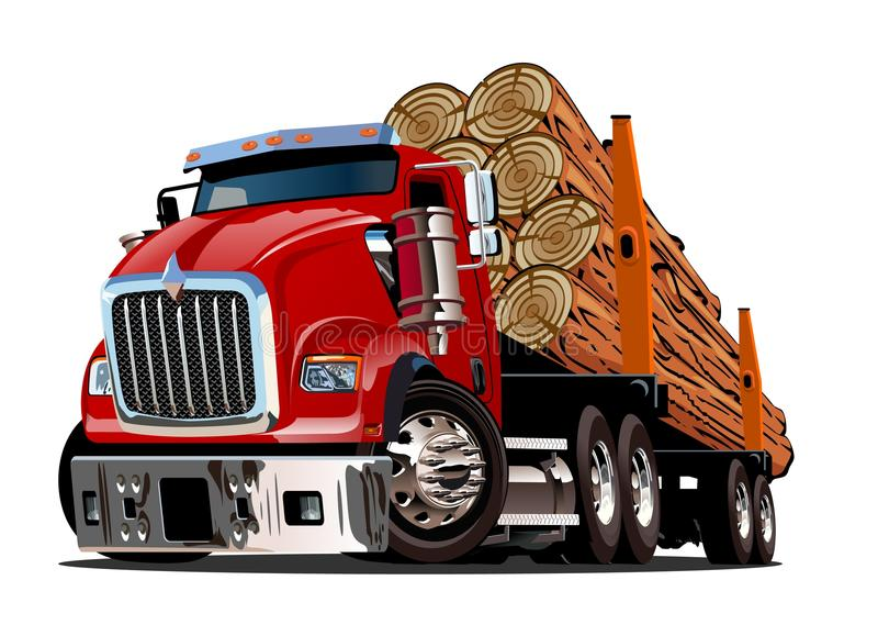 Cartoon logging truck vector illustration