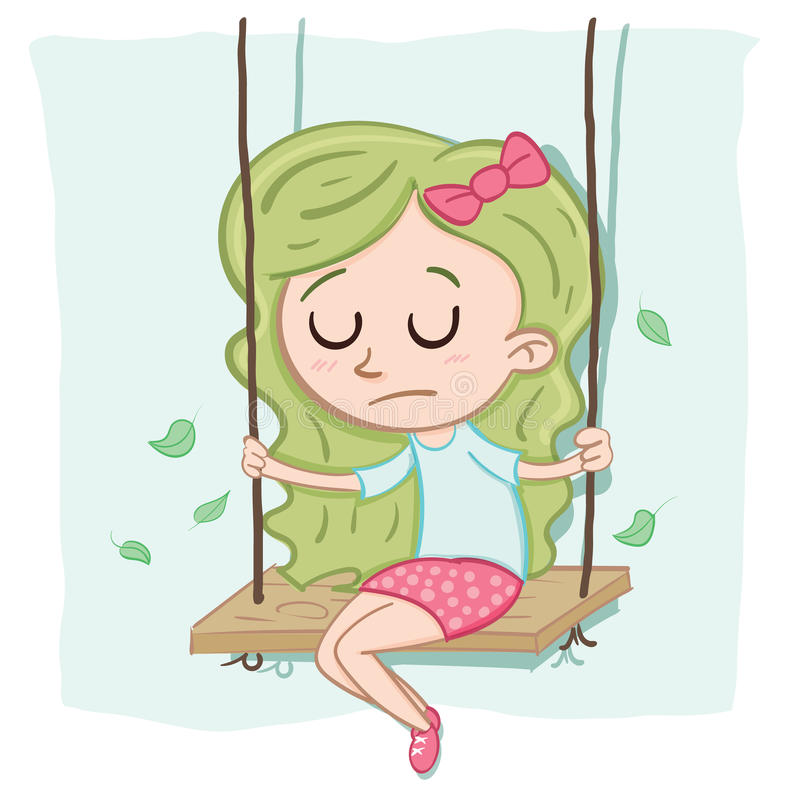 Cartoon lonely girl. Sitting alone on the swing stock illustration