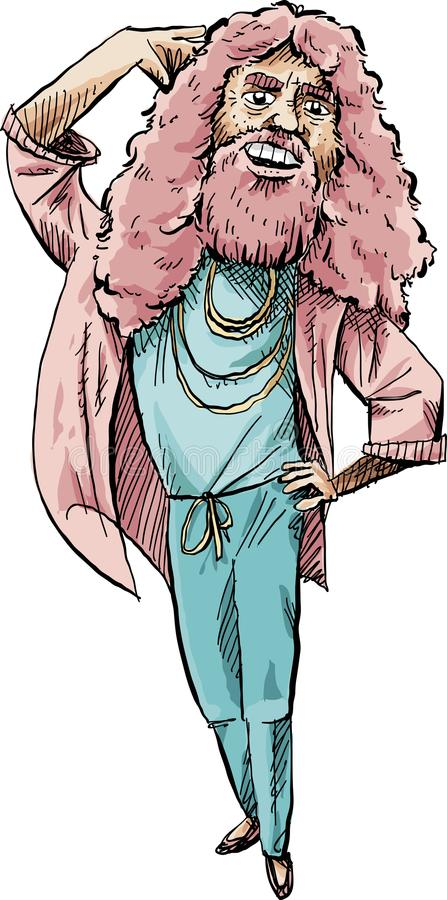Bearded Pink Man Pose. Cartoon of a long-haired, bearded man in pink and blue doing a fashion pose vector illustration
